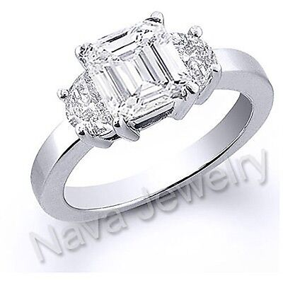 2.91 Ct. Emerald Cut Diamond Engagement Bridal Ring GIA