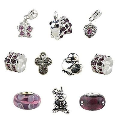 Set of 10 Purple Easter Charms and Beads Bunny Charm, Cross Charm, Baby Chick Ch ()