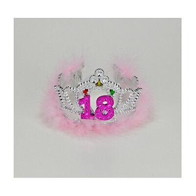 18th Birthday Plastic Silver Pink Gem Tiara FREE U.S. FC SHIP !](18th Birthday Tiara)