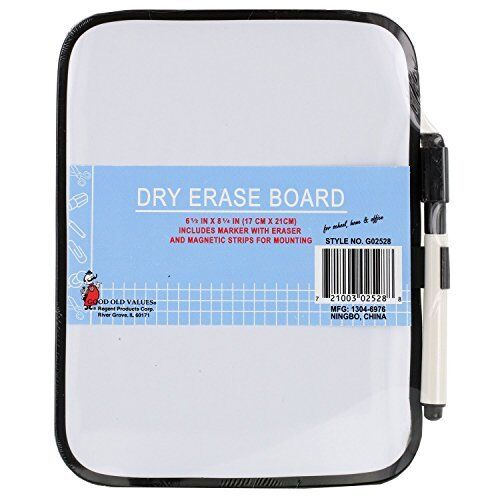 "Dry-Erase 6-1/2"" x 8-1/4"" Whiteboard with Marker and Magnet Strips - 02528"