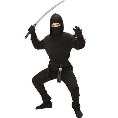 Kinder Ninja Kostüm japanischer Kämpfer schwarz Gr. 140 gute Qualität - Japanische Kostüm Kinder