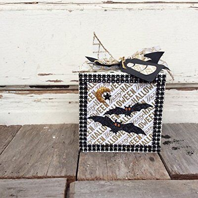 AGD Halloween Decor - Gold Black Elegant Bat Box Sign
