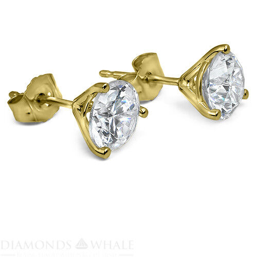 18k Yellow Gold Round Stud Diamond Earrings 1 Ct Vs2/f Wedding Enhanced