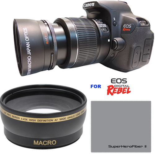 XIT HD PHOTO® 58MM .43x Wide Angle Lens with Macro for Canon Rebel T6i T5i T3i