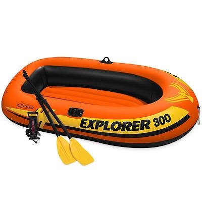 Intex Explorer 300 Compact Inflatable Fishing 3 Person Raft Boat W  Pump   Oars