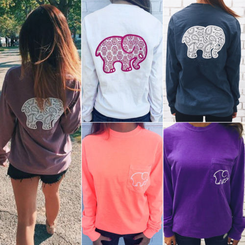 Women Elephant Animal T-shirt Blouse Long Sleeve Pullover Ca