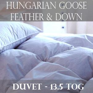 edredon duvet 100 plume oie hongrois de luxe toutes tailles lit 13 5 tog ebay. Black Bedroom Furniture Sets. Home Design Ideas