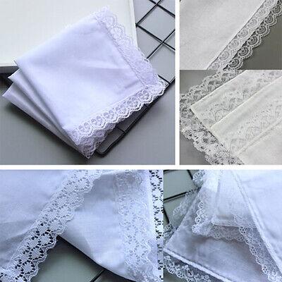 Ladies Wedding Cotton Lace Floral Hankies Flower Handkerchief Kids DIY Drawing