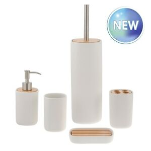 Almond cream ceramic and beech wood bathroom accessory for Cream bathroom accessories set