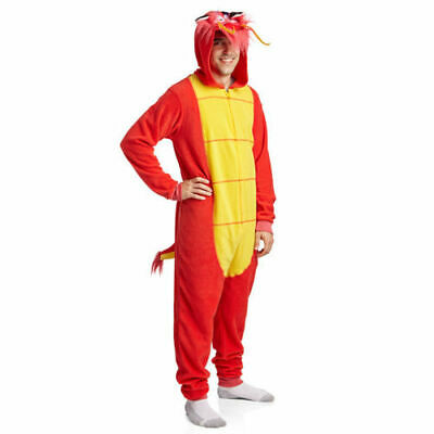 Mulan Costume Adults (Mulan Mushu Lounger Kigurumi Costume One-Piece Adult Zip-Up Bodysuit Halloween)