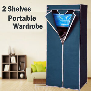 2-Shelves-Brand-New-Easy-to-assemble-Portable-Wardrobe-Large-Space-Storage-Navy