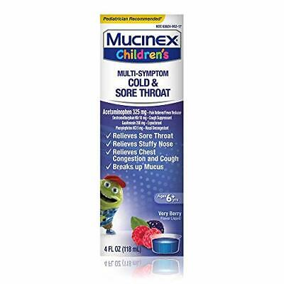 Mucinex Childrens Mixed Berry Flavored Cold Cough and Sore T