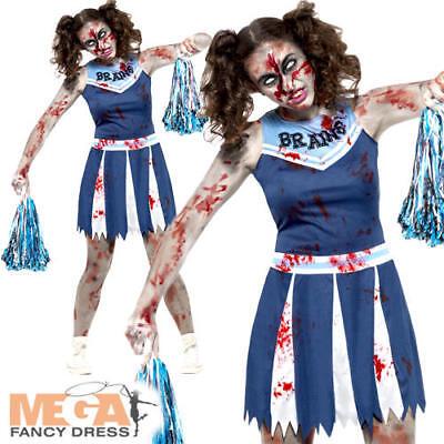 Zombie Cheerleader Ladies Teen Halloween Fancy Dress Horror Womens Adult Costume - Cheerleader Halloween Costume Teen