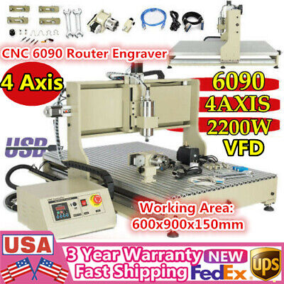 Usb 4 Axis Cnc 6090 Router Engraver 2.2kw Vfd Metal Woodworking Milling Carving