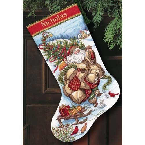 Dimensions D08752 Santa's Journey Christmas Stocking Counted Cross Stitch Kit