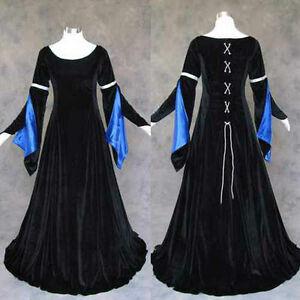 Black-Velvet-Blue-Satin-Renaissance-Medieval-Gown-Dress-Costume-LOTR-Cosplay-4X