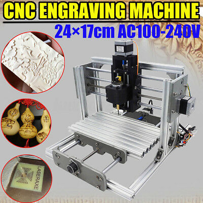 Diy Cnc Milling Router Kit 3 Axis Usb Desktop Wood Carving Engraver Machine 2417