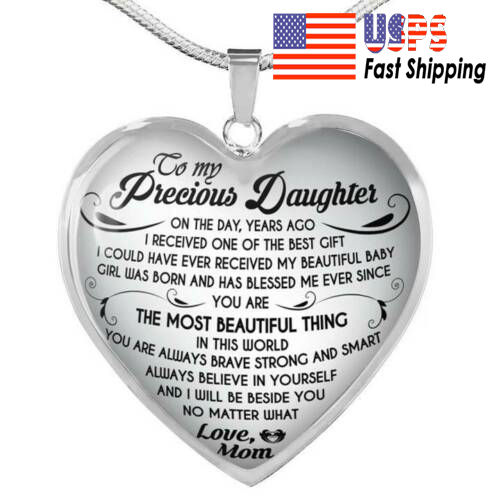 To My Daughter Necklace Heart From Mom - I love My Mom Birth