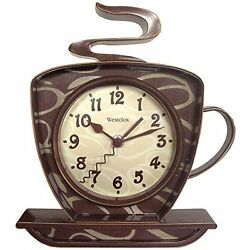 Coffee Cup Wall Clock 3-D Shop Bakery Home Kitchen Decor Retro Brown Small New