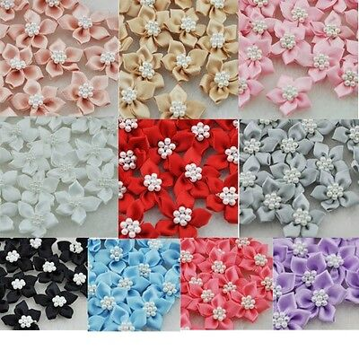 200/40pc satin  ribbon flowers with the Appliques Craft DIY Wedding pearls A046 - Diy Ribbon Flowers
