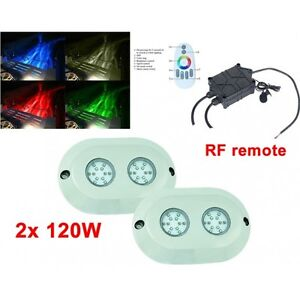"2x 5.5"" 120W Round LED underwater marine light -RGB + RF remote"