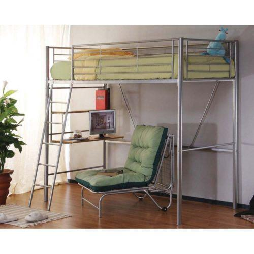 metal bunk bed with desk ebay