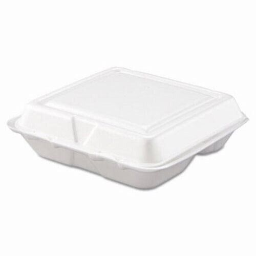 Dart Carryout Food Container, Foam, 3-Comp, White, 200 Containers (DCC80HT3R)