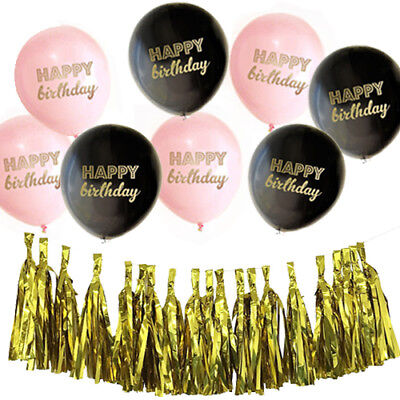Happy Birthday Pink Black Balloons AND Gold Foil Tassels Banner Garland - Black And Gold Garland