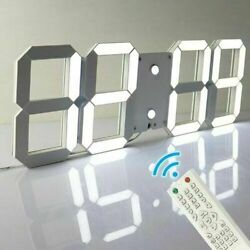 Large 3D LED Display Digital Timer Skeleton Night Wall Clock Remote Control AA