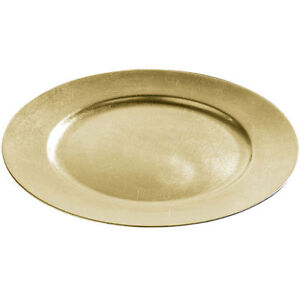 Brand NEW Set Of 4 33cm Decorative Charger Dinner Under Plates - Gold