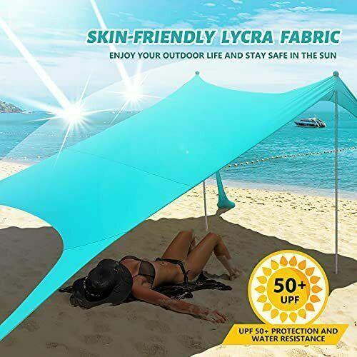 Family Beach Tent Canopy Sun Shade UPF50+ Easy Pop Up Anti-Wind Sun Shelter