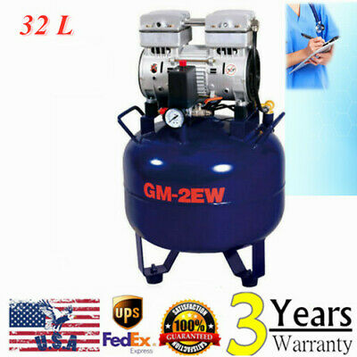 Portable Dental Air Compressor Oil Free Tank 32l Handpiece Noiseless Silent 850w