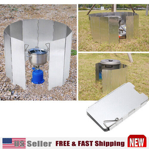 9 Plates Camping Stove Windscreen Screen Folding Windproof Accessories Outdoor