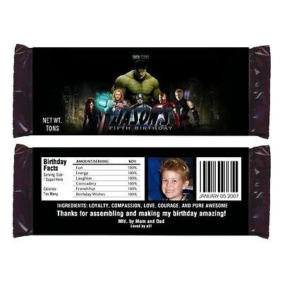 12 Avengers Superhero Birthday Party Favors Personalized Candy Wrappers
