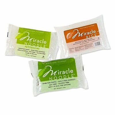 6 Packages MIRACLE NOODLE Shirataki Pasta - 2 ANGEL HAIR, 2 FETTUCCINI, & 2 RICE
