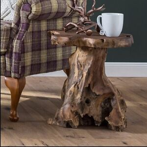 Rustic Side End Table Furniture Living Room Coffee Table Wooden Teak Tree Root