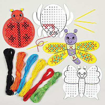 Bug Cross Stitch Kits for Children to Sew Display Crafts with Insects (5 Pcs)