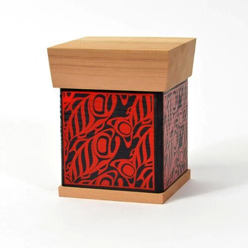 "Bentwood Box School Of Salmon Design 5"" Tall Northwest Coast Native American"