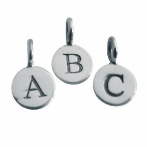 SOLID-sterling-SILVER-925-personalised-ALPHABET-round-charm-ALL-letters
