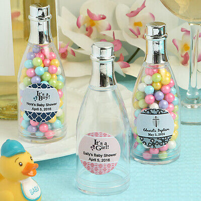 75-250 Personalized Champagne Bottle Favor Box - Baby Shower Baptism Party Favor