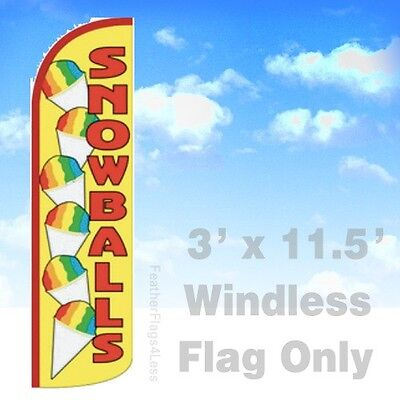 Snowballs - Windless Swooper Feather Flag 3x11.5 Snow Balls Banner Sign - Yq
