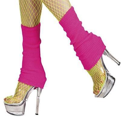 Bein Stulpen 80er Jahre (Aerobic Stulpen 80er Jahre Strümpfe Beinstulpen Neonfarbe PINK Style)