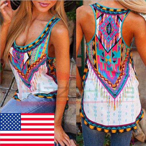 US Womens Boho Tank Top Vest Sleeveless Loose Summer Beach C