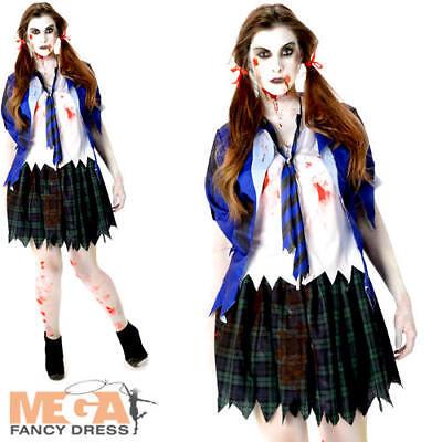 Zombie School Girl Ladies Halloween Fancy Dress Womens Adults Schoolgirl Costume