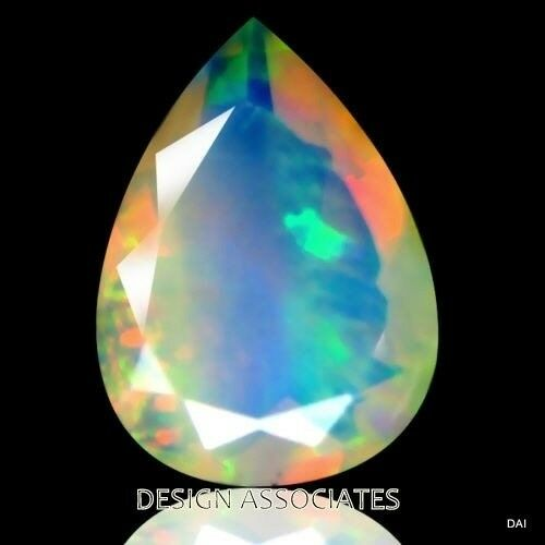 ETHIOPIAN WELO OPAL 9x7 PEAR MULTI FIRE FACETED CALIBRATED ALL NATURAL