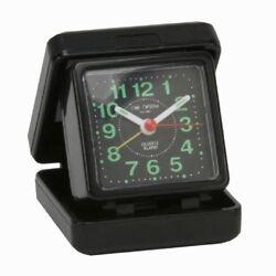 Small Portable Folding Quartz Travel Alarm Clock Desk Top Black Night Time Cheap