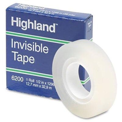 Highland Invisible Tape - 0.50 Width X 36 Yd Length - 1 Core - 6200121296