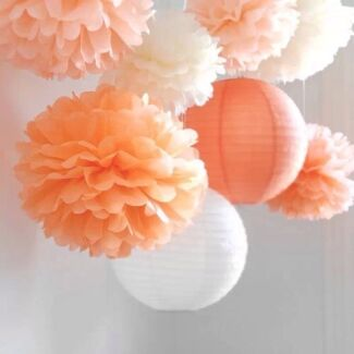 Paper Lanterns and Pom Poms for Wedding Party Baby Shower Decor
