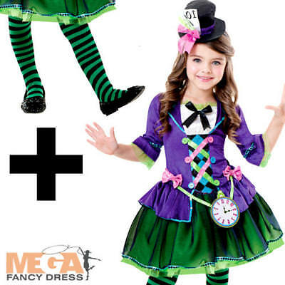 Bad Mad Hatter Costume (Bad Mad Hatter + Tights Girls Fancy Dress Fairytale World Book Day Kids)