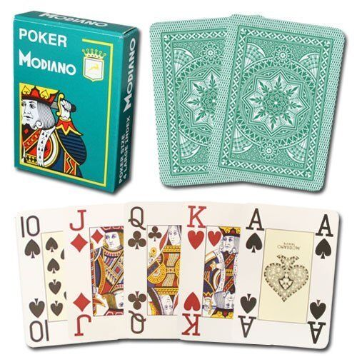 Modiano Cristallo Plastic Playing Cards, 4 PIP Jumbo Index, Dark Green